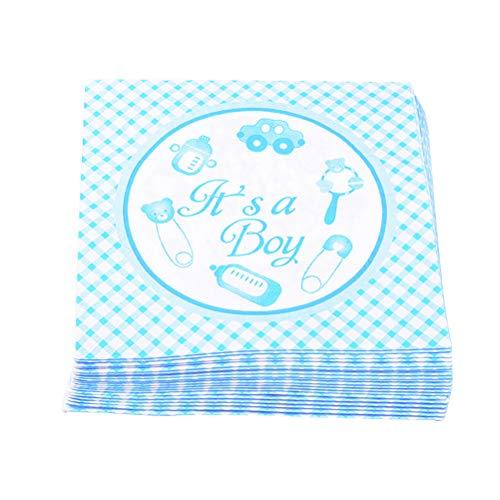 Toyvian 20 teile/paket Baby Shower Servietten Gedruckt Einweg Tissue Serviette für Birthday Dinner Party (Blau)