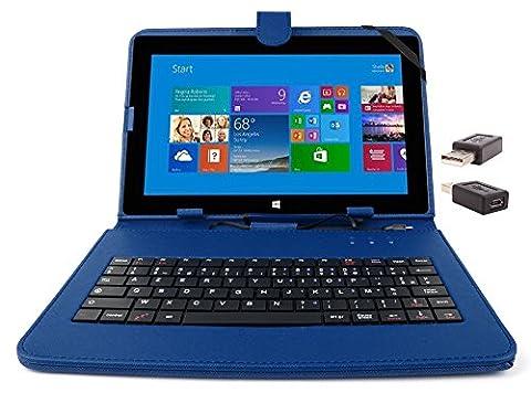 Etui aspect cuir bleu avec clavier intégré AZERTY (français) pour Microsoft Surface Pro et RT 1 et 2 tablettes 10,6