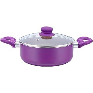 Wonderchef   63152350 Royal Velvet Aluminium Casserole with Lid 4.5 Litres/24cm, Purple