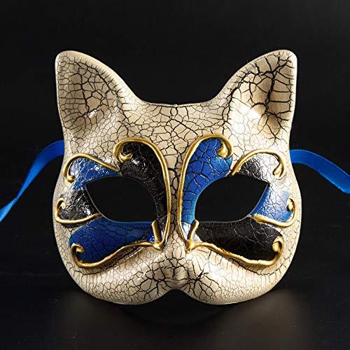 WMA-Idee Halloween Kindermaske Maskerade Party Halbe Gesicht Kätzchen Maske Venedig,Blue (Gesicht Bemalen Für Halloween Ideen)