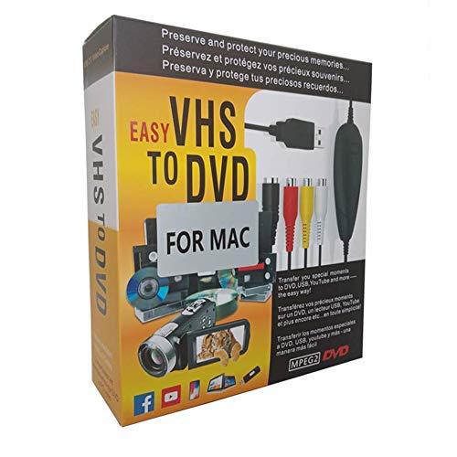 FONCBIEN VHS to Digital Converter - [Actualizar] USB 2.0 Video Audio Grabadora De Captura Adaptador Tarjeta V8 / Vi8 VHS a DVD Convertidor TV DVR VCR CCTV Videocámara a PC para Mac y Windows 10/8