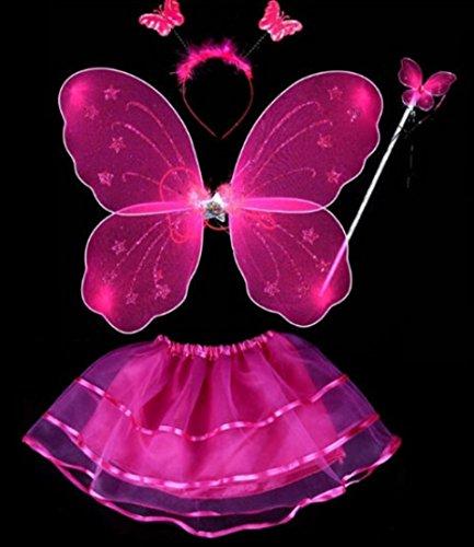 Kostüm FEE SCHMETTERLING Rock Flügel 4 tlg Fairy 1-10 Jahre Gr. 80-140 Fasching (Pink)
