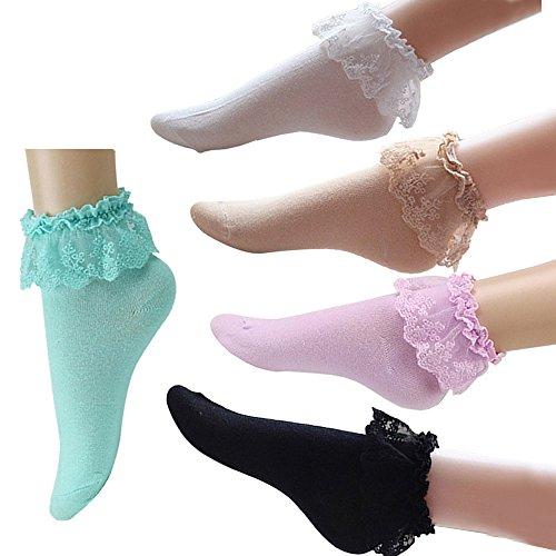 Mangotree Vintage Lace Söckchen Ruffle Rüschen Fashion Ladies Princess Mädchen Geschenk (5 pairs) (Socken Kleid Länge)