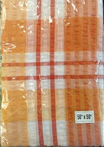 Terracotta Check Seersucker Tablecloth 50/50 by D&M