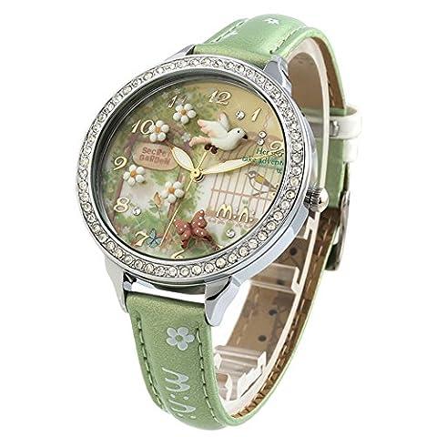 3d fait main en argile Cristaux pour femmes montres de poignet pour femme Filles Spring Flying Bird Green Relogio