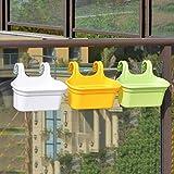 Go Hooked Double Hook Flower Pots, Multicolor Garden Planters Railing Pots Virgin Plastic Hanging Planters - Set of 3…