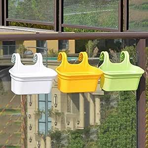 Go Hooked Double Hook Flower Pots, Multicolor Garden Planters Railing Pots Virgin Plastic Hanging Planters - Set of 3 (34 cm)