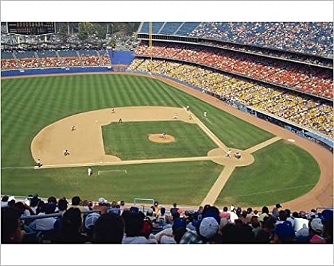 Photographic Print of Crowds watch baseball game at the Dodgers Stadium in Los Angeles