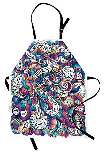 Festival-Schürze, Pastell Rainbow Color Coiled Stripes Kalligrafische musikalische Komposition und Melodien, Unisex-Küchenschürze mit verstellbarem Hals zum Kochen Backen Gartenarbeit, Multicolor