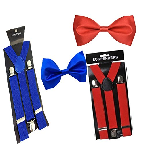 WHOLESOME DEAL unisex red and black stretchable suspender with bow combo(susbw001) (Royal blue And Red)