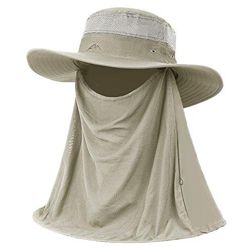 WYYY Chapeaux Hommes Visière Nylon Respirant Complet Protection Contre Le Soleil Protection UV De Plein Air 52-60cm (Couleur : Kaki)