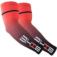 Sulida Herren und Damen Ärmlinge Sport Anti-UV Arm Warmers für Radfahren Laufen Golf Basketball Fußball Wandern Skateboard(Rot)