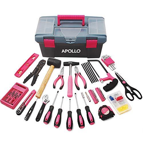 Apollo 170-teiliges Komplettes Haushaltswerkzeugset in Pink mit großem stabilen Werkzeugkasten