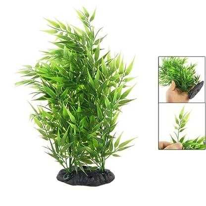 SODIAL(R) Hierba artificial decorativa en forma de hojas de bambu verde para acuario tanque de pesca