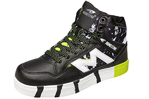 gibra Herren Sneaker Sportschuhe, Art. 4037, Knöchelhoch, Schwarz/Neongrün, Gr. 41-46 Schwarz/Neongrün