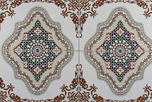 Marokkanische Wandfliese Keramikfliesen orientalisch Meknes 40 x 25 cm 1 qm | wie aus 1001 Nacht | Vintage Keramikfliese arabisches Design Fliesen