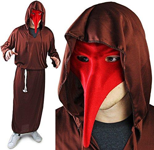 Komplett Halloween Set Reaper Kostüm VENEZIA ROT Maske (Kostüm Maske Roten Die Todes Des)