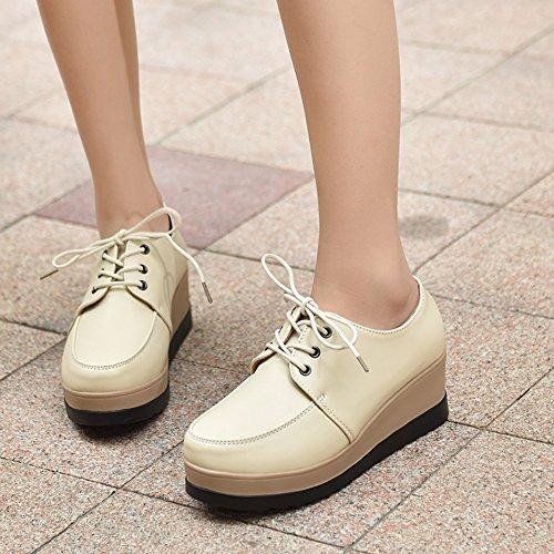 wealsex Derbies Bout Ronde Femmes Plate-Forme Compensees Chaussures de Ville à Lacets Baskets Cuir Semelle Epais Casuel Mode Confort Beige