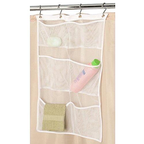 Organizer portaoggetti da bagno con 6 tasche, da appendere sull'asta della doccia, rapida asciugatura, con ganci, a rete, per accessori da bagno, colore bianco, dimensioni 60 cm x 35 cm