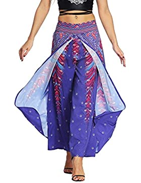 Mujer Pantalones Baggy Verano Vintage Etnica Estilo Floreadas Pantalones Aladdin Elegantes Anchas Abiertas Basic...