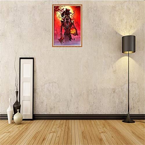 Diy 5d diamant malerei kit halloween innendekorationen schwarze katze kürbis hexe vampir strass stickerei bohren voll kreuzstich kunsthandwerk für leinwand wanddekor gespenstisch halloween dekoration (Strass Hexe Kostüm)