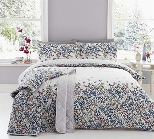 Blumenmuster Kaskadierend Blumen Blaue Baumwolle Mischung Doppel (Einfache Creme Passendes Leintuch - 137 X 191cm + 25) 4-tlg. Bettwäsche Set -