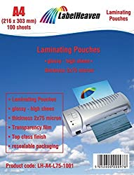 100 Laminierfolien DIN A4 (216x303mm) LH-A4-L75-1001 von LabelHeaven