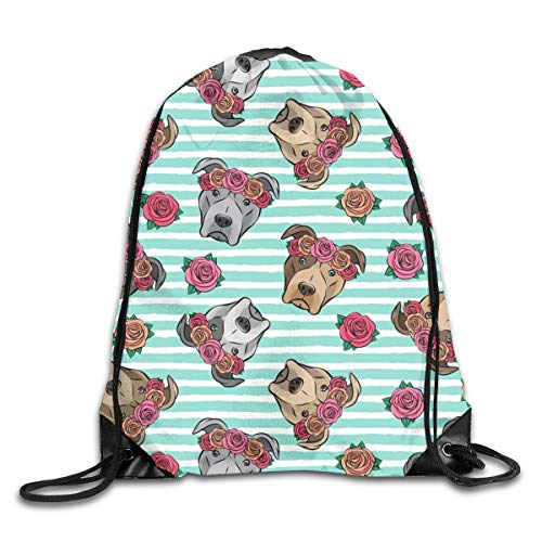 Drawstring Backpack Bags All The Pit Bulls Floral Crowns Teal Stripes Sport Athletic Gym Sackpack for Men Women (Teal Womens Tennis-schuhe)