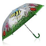 HC-Handel 913158 Kinder Regenschirm Tiere Biene Wiese Käfer 80 x 59 cm transparent