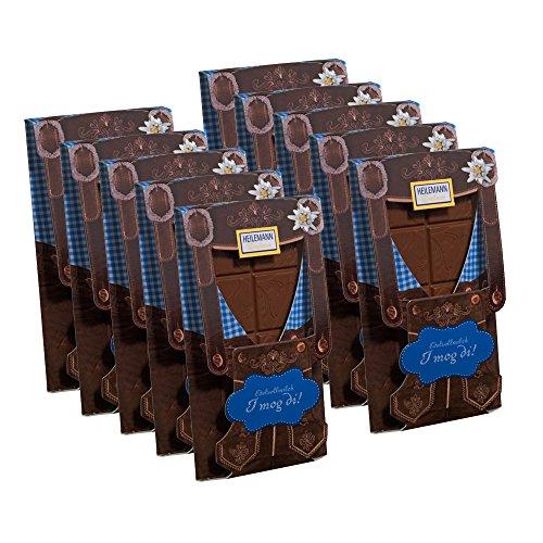10er SET Flachtafel Lederhose Edelvollmilch Schokolade 37 g Tafel / Alpenserie