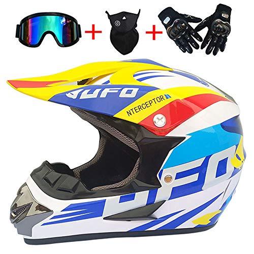 XB AMZ Motocross Quad Crash Helm ECE Full Face Off Road Downhill Dirt Bike MX ATV Motorradhelm Für Yamaha Handschuhe, Goggles, Maske 4 Piece Set White,L