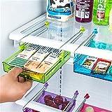 Globents - Cajón organizador para nevera, cubo extraíble para refrigerador, ajustable, se instala debajo del estante   se adapta a la mayoría de frigoríficos morado