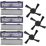 Ewendy - Juego de 6 filtros y 3 cepillos laterales de repuesto para aspiradora Neato Botvac