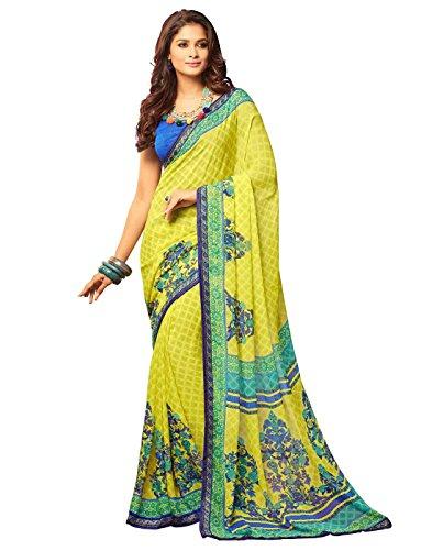 Paaneri Fancy Yellow with Blue Border Color Chiffon Printed Saree _17120270343
