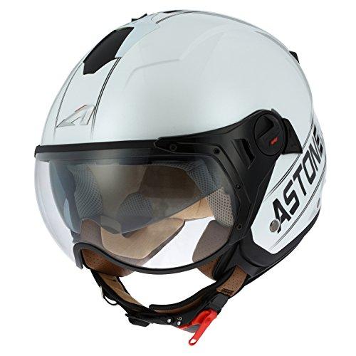 Astone Helmets minisportg-wbm casco Moto Minijet deporte Cooper, color blanco/negro, talla M
