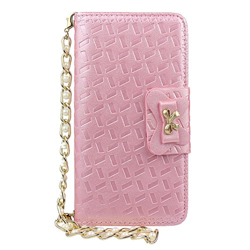 Etui iPhone 6, Housse iPhone 6S, Coque iPhone 6/6S, HuaForCity Embossed PU Cuir TPU Frame Papillon Arc Fermeture Magnétique Fentes Portefeuille Support avec Chaîne Phone Case Cover Protection Peau Hol Rose Clair