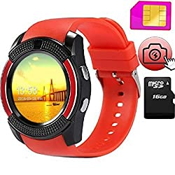 WiFi Compatible Certified Bluetooth Smart Watch | Round Dial | Red Smart Watch V9 Wrist Watch Phone with SIM Card Support New Arrival Best Selling Premium Quality with Apps like Facebook / Whatsapp / QQ / WeChat / Twitter / Time Schedule / Read Message or News / Sports / Health / Pedometer / Sedentary Remind / Better Display / Loud Speaker / Microphone / Touch Screen / Multi-Language Pedometer Sleep Monitor, Anti Lost Feature Compatible For All Smart Phones / Androids / IOS By Jiyanshi