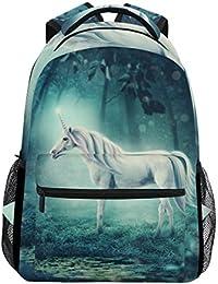 Preisvergleich für COOSUN White Unicorn In Einer Wald zufälligen Rucksack Schultasche Reise Daypack White Unicorn in einem Wald