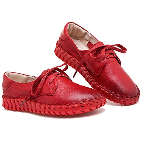 Shenn Donna Lavoro Spazio Comfort Casuale cima Qualità Pelle Moda Sneaker Rosso