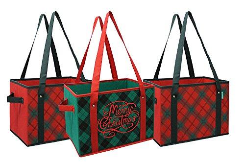 Earthwise wiederverwendbar Lebensmittel-Einkaufstasche Box Urlaub Xmas Weihnachten Karomuster Deluxe faltbare Geschenk Korb Tasche w/Fold Down unten verstärkt (Set von 3) Lebensmittel Körbe Für Den Urlaub