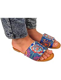 New Womens Flat Studded Slip On Slider Pearl Sandal Ladies Shoe Size 3 4 5 6 7 8