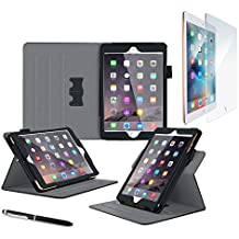 iPad Mini 4Funda, rooCASE Dual View Pro–Soporte de iPad Mini 4multi-viewing Folio Case Smart Cover para Apple iPad Mini 4(2015) .Tempered Glass + Black iPad Mini 4 (2015)