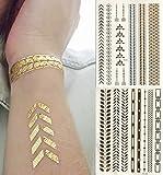 Golden Metallic Gold Body Art Temporary Removable Tattoo Stickers Golden Pattern Golden Arrows Sticker Tattoo - FashionLife - FashionLife - amazon.co.uk