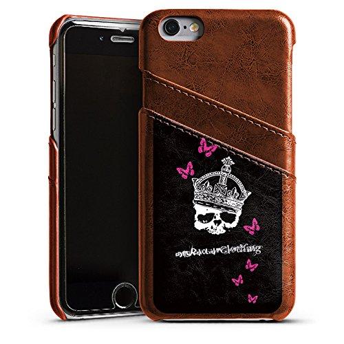 Apple iPhone 4 Housse Étui Silicone Coque Protection Tête de mort Crâne Couronne Étui en cuir marron