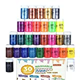 Tempera-Farbe, Shuttle Art, 30 Farben, waschbare Temperafarbe Set für Kinder, 57 ml Flaschen, Metallic Glitzer und Neonfarben und Weithalsflaschen, einfach für Poster, Kunst und Projekte