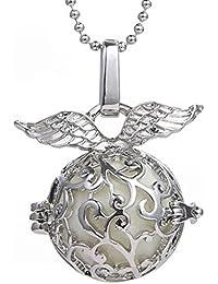 Joyas Stayoung huecos de alas de ángel collar colgante medallón luminosos, tres brillantes perlas