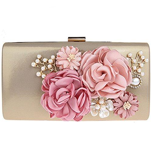 KAXIDY Elegant Abendtasche Blumen Clutch Abendtaschen Handtasche (Gold) (Blume Clutch Satin Perlen)