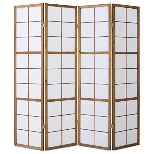 Homestyle4u 168, Paravent Raumteiler 4 teilig, Holz Braun Tabak, Reispapier Weiß, Höhe 175 cm