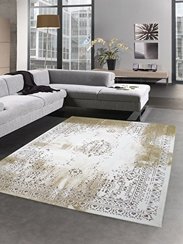 Alfombra moderna alfombra de lana antiguo vendimia ornamento crema amarillo mostaza oro Größe 160x230 cm
