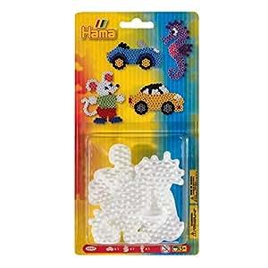 Hama - 4557 - Loisirs Créatifs - Blister 3 Plaques pour Perles à Repasser Midi - Voiture/Souris/Hippocampe